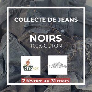 collecte de jeans noirs 100% coton, du 2 février au 31 mars